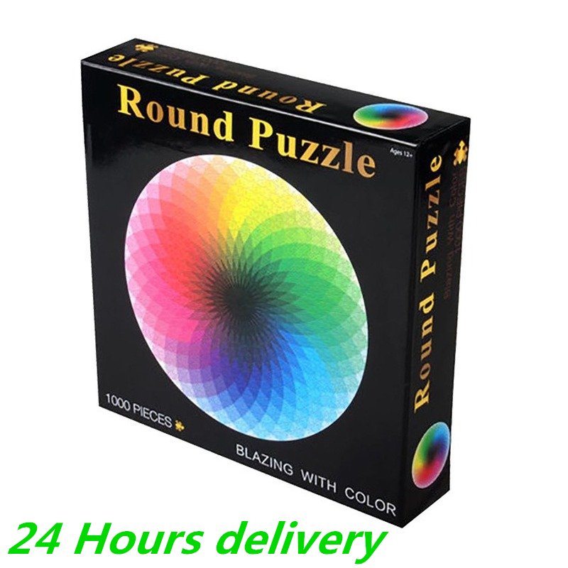 1000pcs Colorful Rainbow Round Geometrical Photo Puzzle Adult Kids Educational Game Toy Jigsaw Puzzle Paper Puzzle Mat