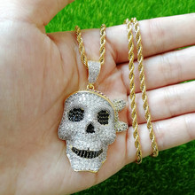 Hip Hop AAA Cubic Zirconia Paved Bling Iced Out Pirate Skull Pendants Necklace for Men Rapper Jewelry Gold Silver(China)