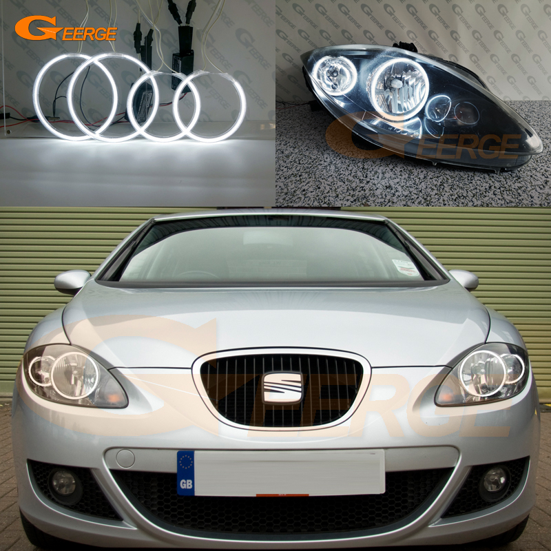 For Seat Leon Mk2 1P Facelift 2009 2010 2011 2012 Headlight Excellent Ultra Bright CCFL Angel Eyes Kit Halo Rings