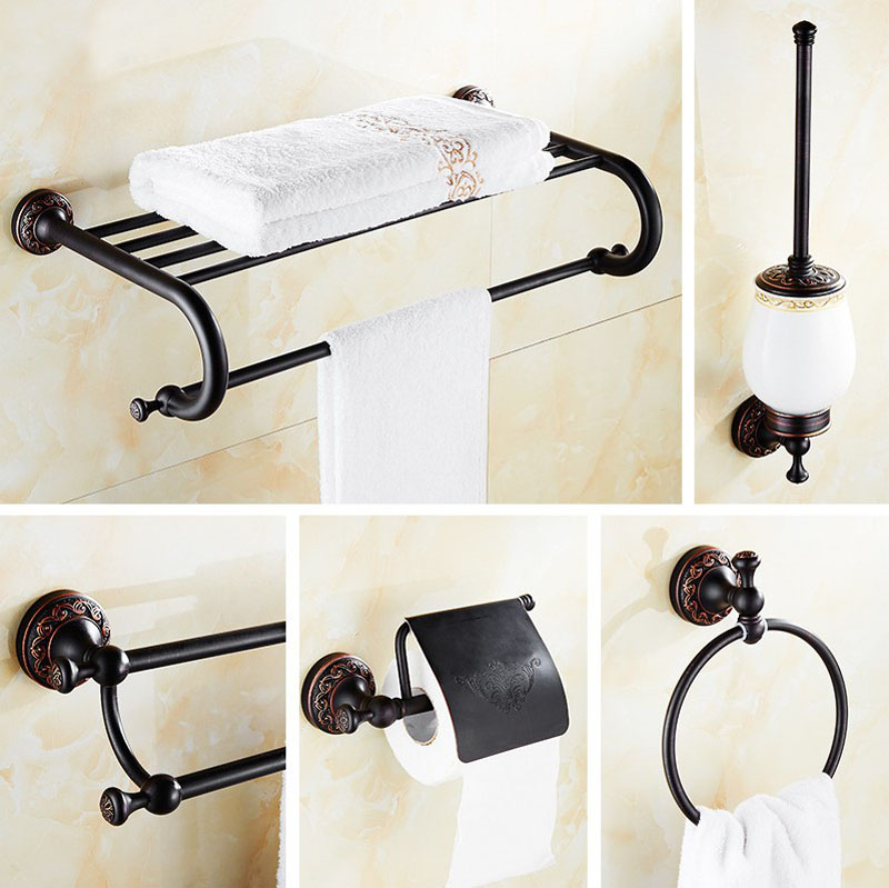 Oil Rubbed Bronze Bathroom Accessories Set Hair Dryer Rack Coat Towel Shelf Rail Bar Shower Soap Dish Holder Toilet Brush Nzh03