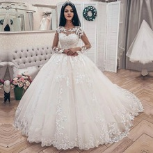 Ball-Gown Bride-Dresses ANGELSBRIDEP Long-Sleeves Wedding Formal Court-Train Appliques