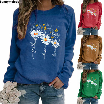 2020 Autumn Winter Women's hoodie creative flower flower Daisy butterfly print round neck with shoulder and long sleeve hoodie france luxe oblong on long and skinny barrette itsy daisy