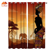 Ethnic Wind African Natural Giraffe Elephant Forest Window Curtains Living Room Outdoor Fabric Drapes Curtain Home Decor