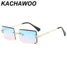Kachawoo óculos de sol, óculos feminino quadrado, retangular, azul e verde, sem aro, para homens, de metal, presente de ano novo 2020