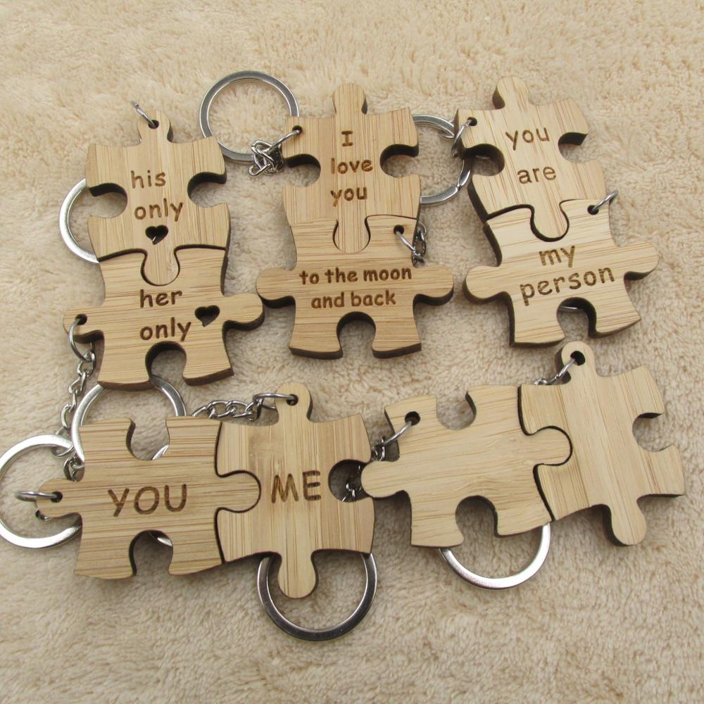 2 x hand made personalised engraved jigsaw piece key rings couple wedding gift