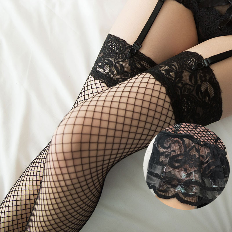 Sexy Mesh Stockings Women Lace Top Silicone Hold Up Thigh High Stockings Ladies Black Nylon Fishnet Pantyhose