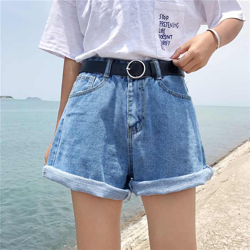 Woman Shorts High Waist A-line Loose Short Trousers Korean Style Classic Vintage Blue Jeans Shorts Casual Female Denim Shorts