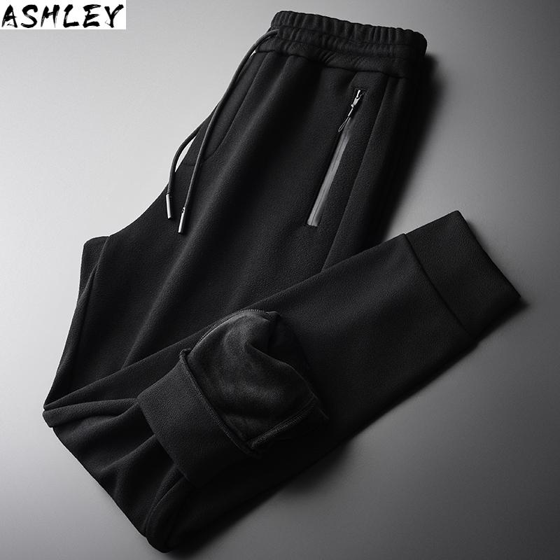 Pants Thick Velvet with elastic belt, autumn and winter, men's trousers are 3XL 4XL,