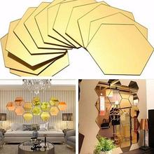 12Pcs Mirror Hexagon Acrylic Removable 3D Wall Sticker Bedroom Decor DIY Decorations Living Room Accessories