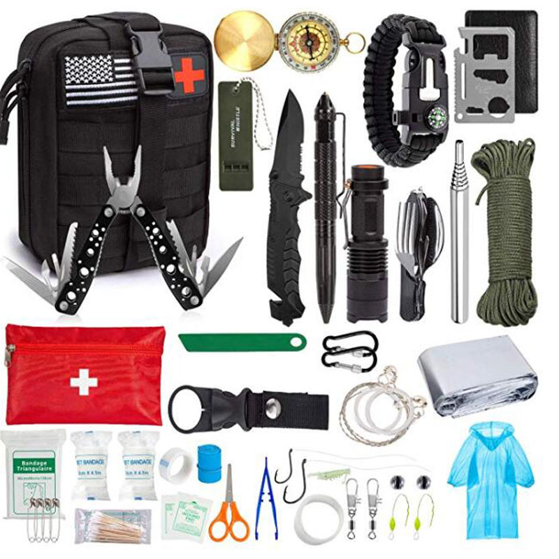40/47pcs Emergency Survival Kit Survival First Aid Kit SOS Tactical Tool Flashlight Knife With Molle Pouch For Camping Hiking