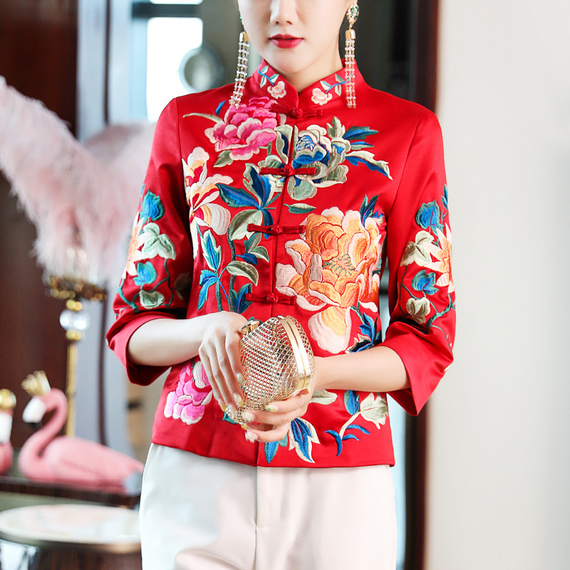 Cheongsam Tops Women's Autumn 2019 New Style Embroidered Retro Chinese-style Short Modified Version Chinese Costume Coat 19400