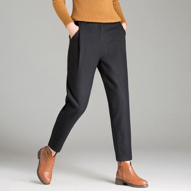 Women Winter Plaid Pants Womens Winter Woolen Harem Trousers Plus Size Black Gray Brown Pant Female Pantalones XXXl 4XL 5XL