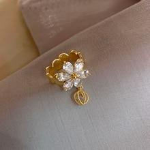 Korea Hot Fashion Jewelry Exquisite AAA Zircon Shining 14K real gold Ring Elegant Women Hollow Ball Opening Adjustable Ring
