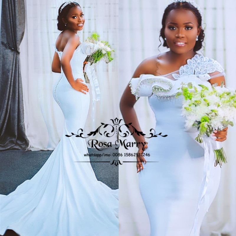 Sexy Vintage Lace Mermaid Bellanaija Wedding Dresses 2020 One Shoulder Plus Size Beaded Sequined African Vestido De Novia