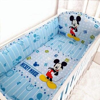 6pcs Baby Bedding for Children Thickening Bumper 100% Cotton Baby Crib Bed Linen Kit Cute Pattern  (4bumper+sheet+pillowcase)
