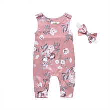 fashion 3pcs baby girl clothes cotton o neck sleeveless romper shorts clothing set for 6 24m new bron baby girl summer set 2 Pcs/Set Summer New Baby Girl Cotton Printing Sleeveless Round Neck Romper Jumpsuit Outfits+Headband Baby Girls Clothes Set