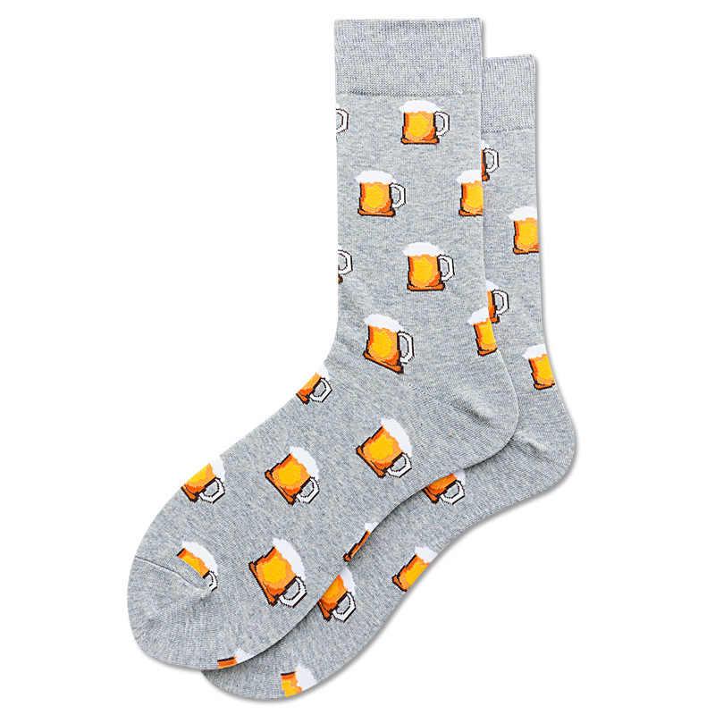 Kaliteli erkek mutlu çorap 44 renk çizgili ekose elmas kiraz çorap erkekler penye pamuk Calcetines Largos Hombre