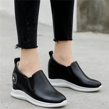Low Top Fashion Sneakers Women Genuine Leather Wedges High Heel Vulcanized Shoes Female Summer Breathable Platform Pumps Shoes