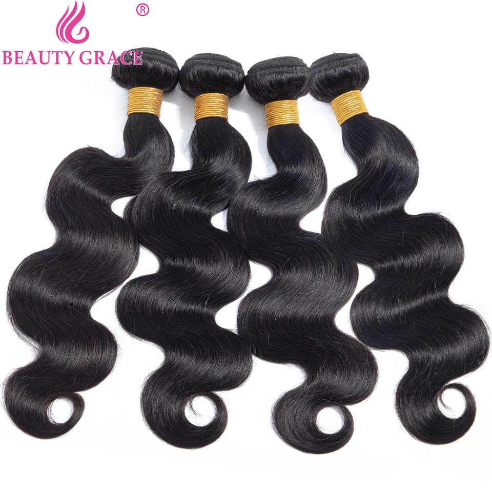 Beleza graça onda do corpo pacotes 100% cabelo humano 2 4 pacotes ofertas tecer cabelo brasileiro pacotes não remy extensão do cabelo