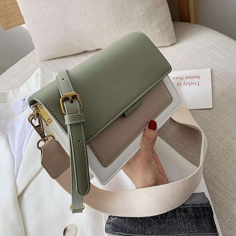 Contrast color Leather Crossbody Bags For Women 2020 Travel Handbag Fashion Simple Shoulder Messenger Bag Ladies Cross Body Bag