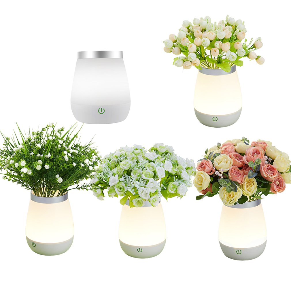 Creative Touch Vase Night Light Bedroom Bedside Dimmable Luminous Light Lamp Rose Potted Flower Fire Lamp