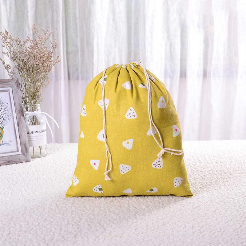 Bolsa de compras con cordón de algodón de moda Eco reutilizable plegable de la compra de tela estuche para debajo de la ropa estuche de viaje bolsa de almacenamiento para el hogar