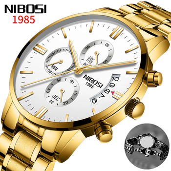 Relogio Masculino Mens Watches NIBOSI Chronograph Sport Men Watches Top Brand Luxury Waterproof Quartz Watch Gold Male Clock image