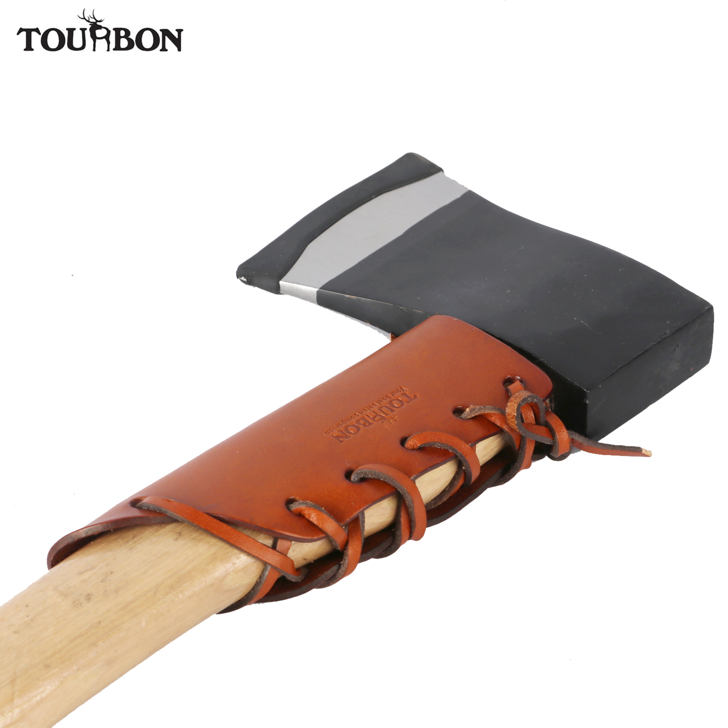 Tourbon Hunting Premium Genuine Leather Ax Collar Guard Sheath Hatchet Carrier Axe Head Cover Pouch image