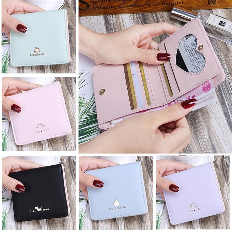 Women Wallet Purses Short Credit-Cards Cat Small Fashion Cute Face for And Carteira-Feminina title=