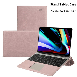 Image 1 - PU Leather Laptop Case for MacBook Pro 16 Inch Angle Guard Shockproof Stand Tablet Case for MacBook Pro Notebook Case + Bracket