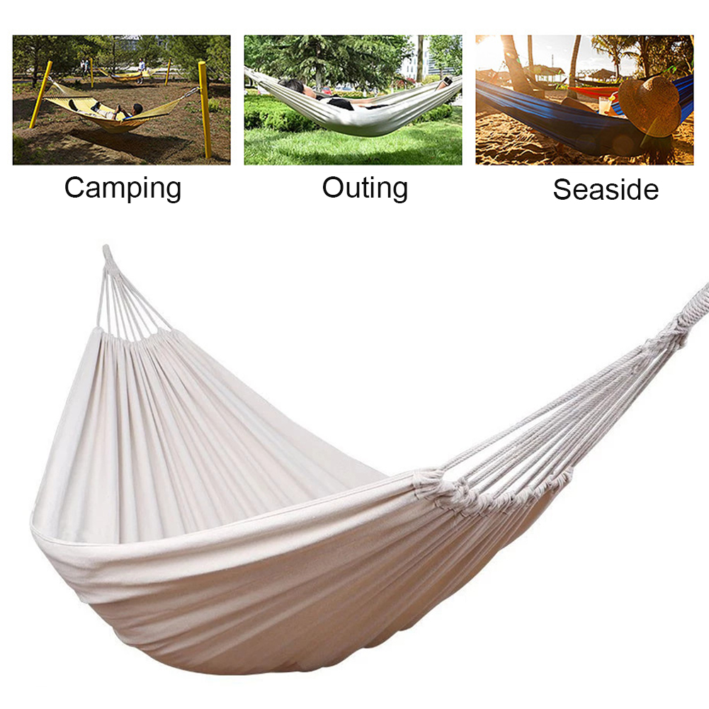 NEW Double Hammock Outdoor Rollover Prevention Camping Hammock Strap Rope Hooks Canvas Hanging Swing Bed Hamak Garden Furniture