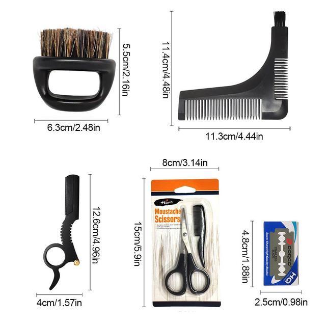 Men's Shaving Template Shaving Brush Beard Styling Comb Grooming Plate Manual Vintage Blade Holder Razor Beard Cleaning Brush 6