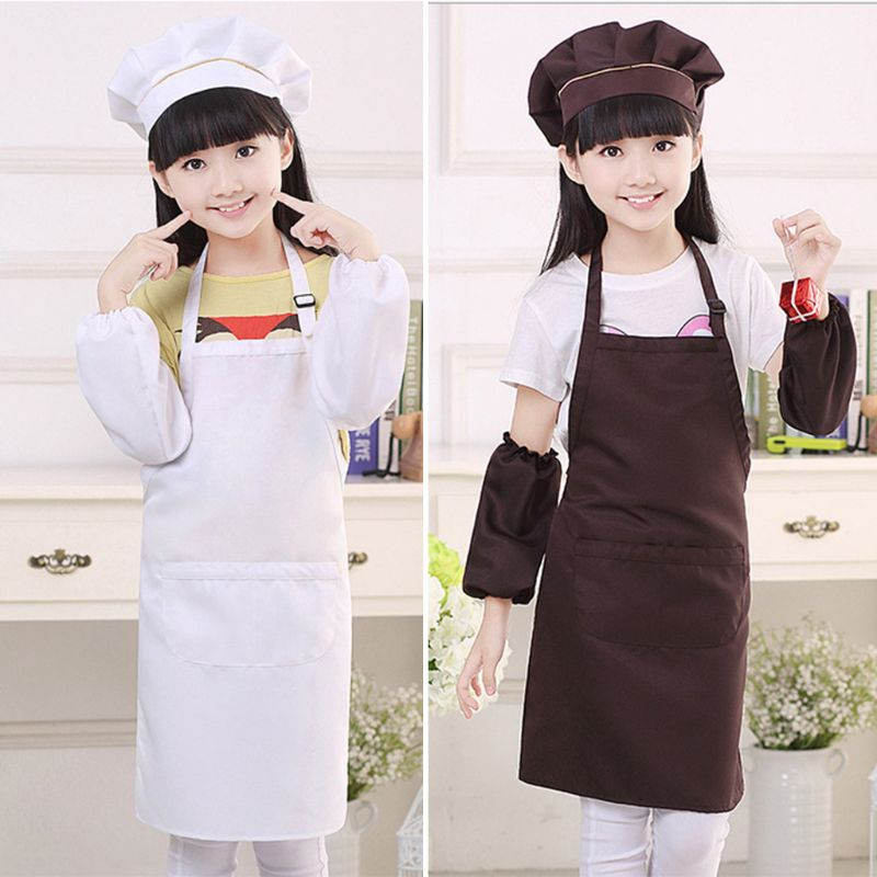3Pcs/Set Kids Chef Hat Apron Sleeve Covers Set Boys Girls Adjustable Kitchen Bib With 2 Large Pockets For Cooking Baking Wear