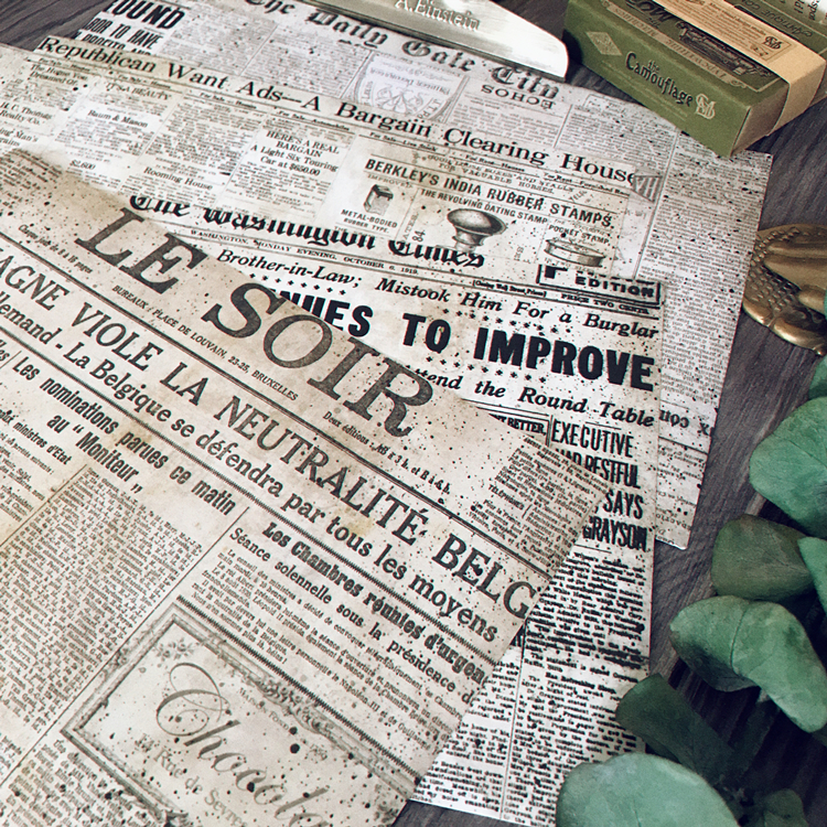 6pcs A5 Junk journal Industrial Retro Old Newspaper Stickers Vintage TN Paper Material Sticker Tim H