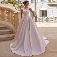 Smileven A Line Pink Wedding Dresses Satin Boho Ever Pretty Princess Bride Dress Floor Length Wedding Gowns 2020