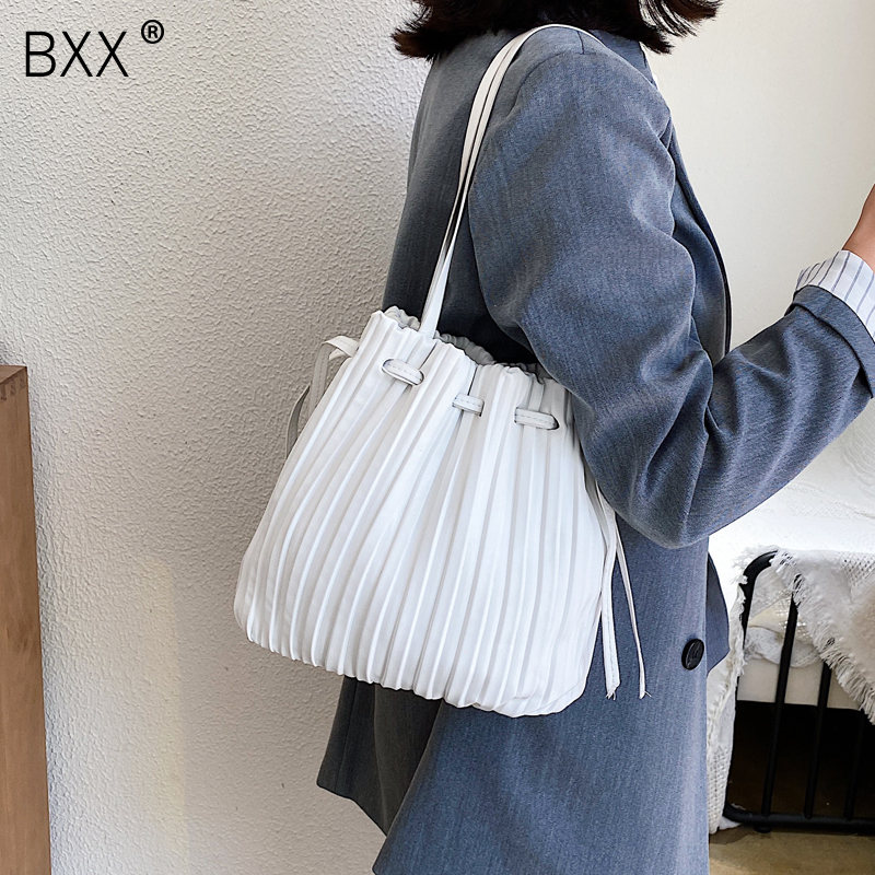 [BXX] Solid Color PU Leather Bucket Bag Female Crossbody Bags For Women 2020 Summer Sweet High Capacity Shoulder Handbags HM691