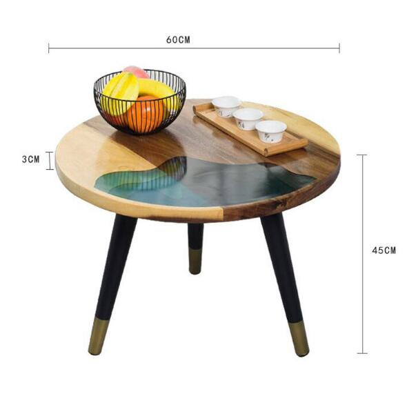 Simple round solid wood coffee table living room iron small table retro sofa side table small coffee table easy assembly table - 5