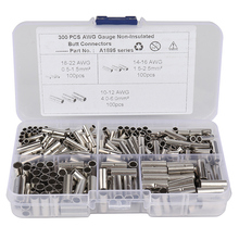 цена на Newest 300Pcs Non-Insulated Butt Connectors Gauge Seamless Uninsulated Electrical Wire Ferrule Cable Crimp Terminal Kit
