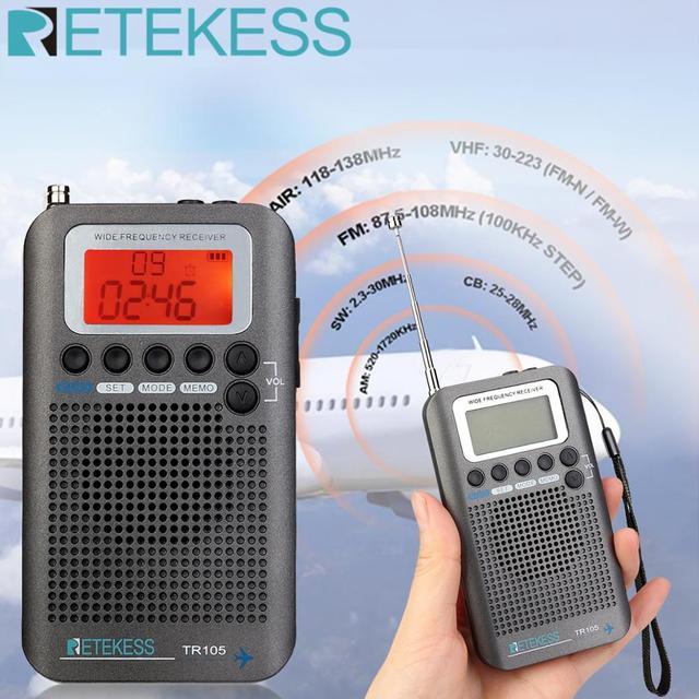 Retekess TR105 Air Band Radio Portable FM AM SW VHF Full Band Radio CB Receiver Digital Alarm Speaker with Extend Antenna