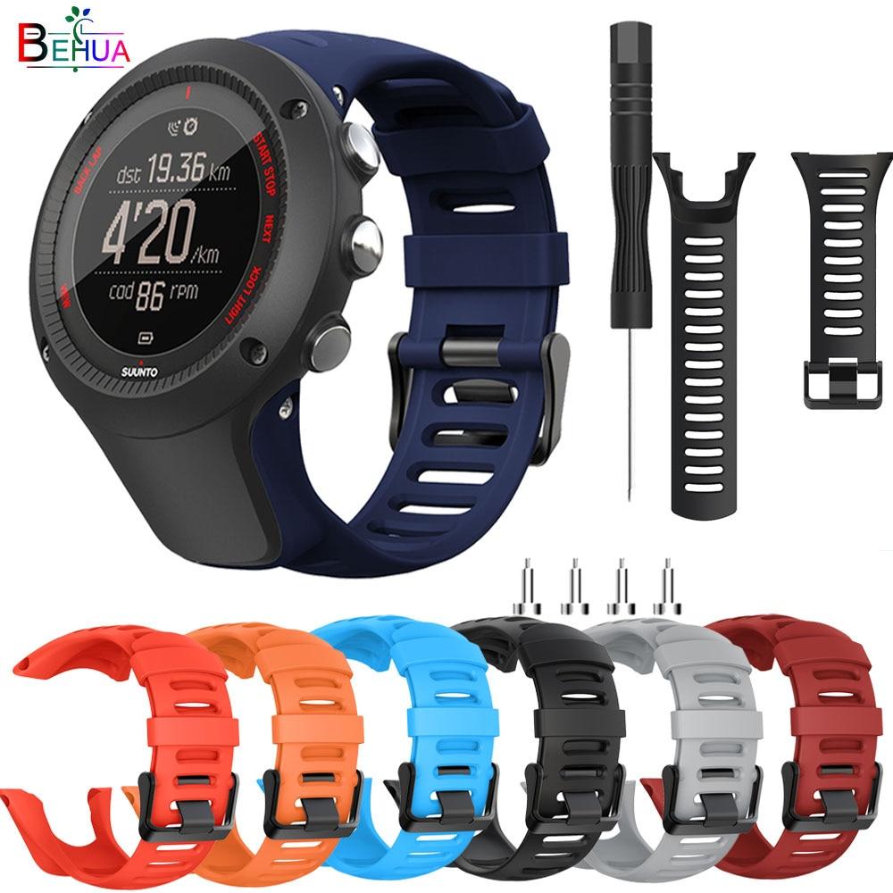 Behua correia de relógio de silicone, correia para suunto ambit1 ambit 2 2r 2s ambit3 p/3s/3r pulseira de relógio para substituição, acessórios pulseira