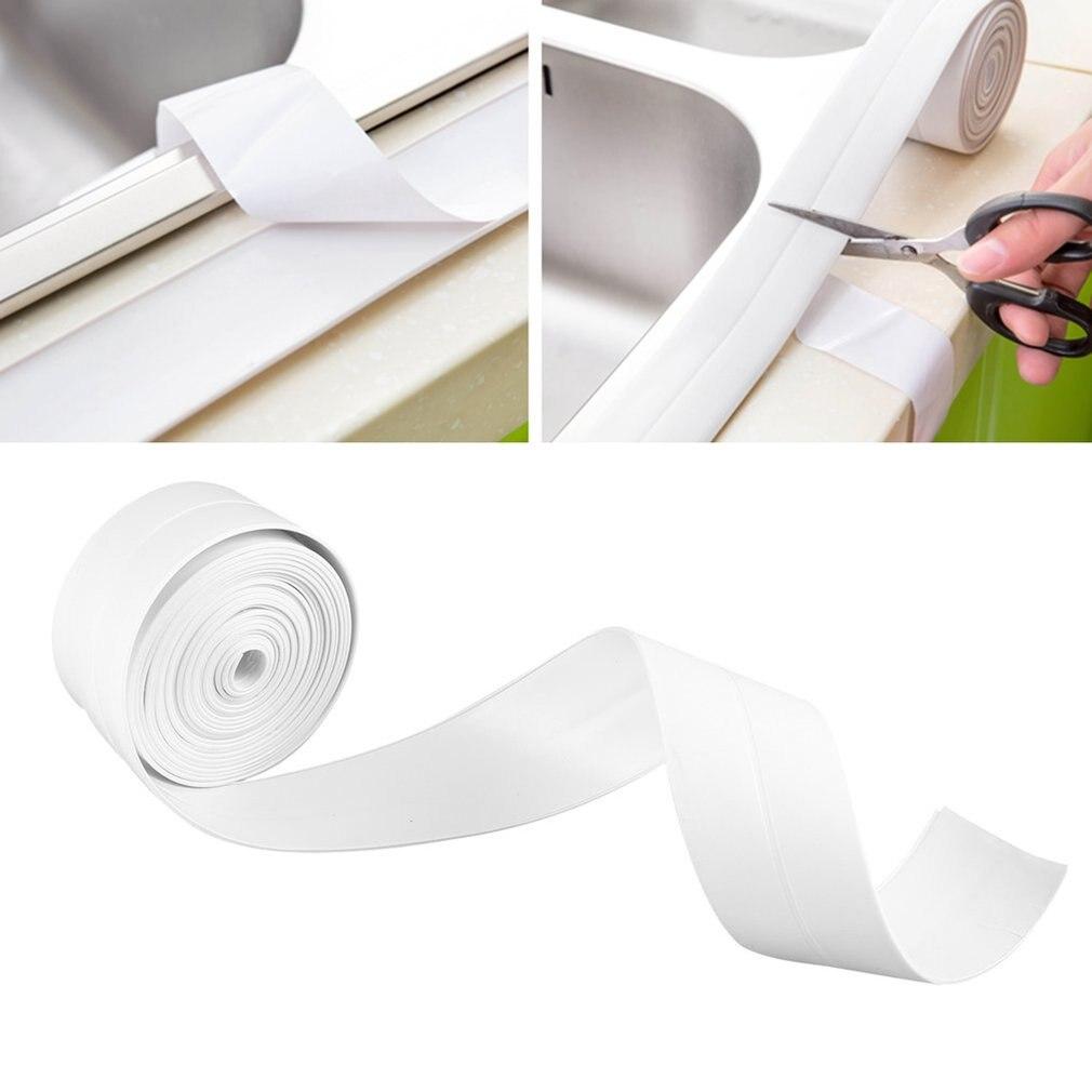 3.2m*38mm Self adhesive Mildewproof Sealing Sealant Strip Tape PVC Wall sticker Bathroom Kitchen Long Lasting Mildew Resistant