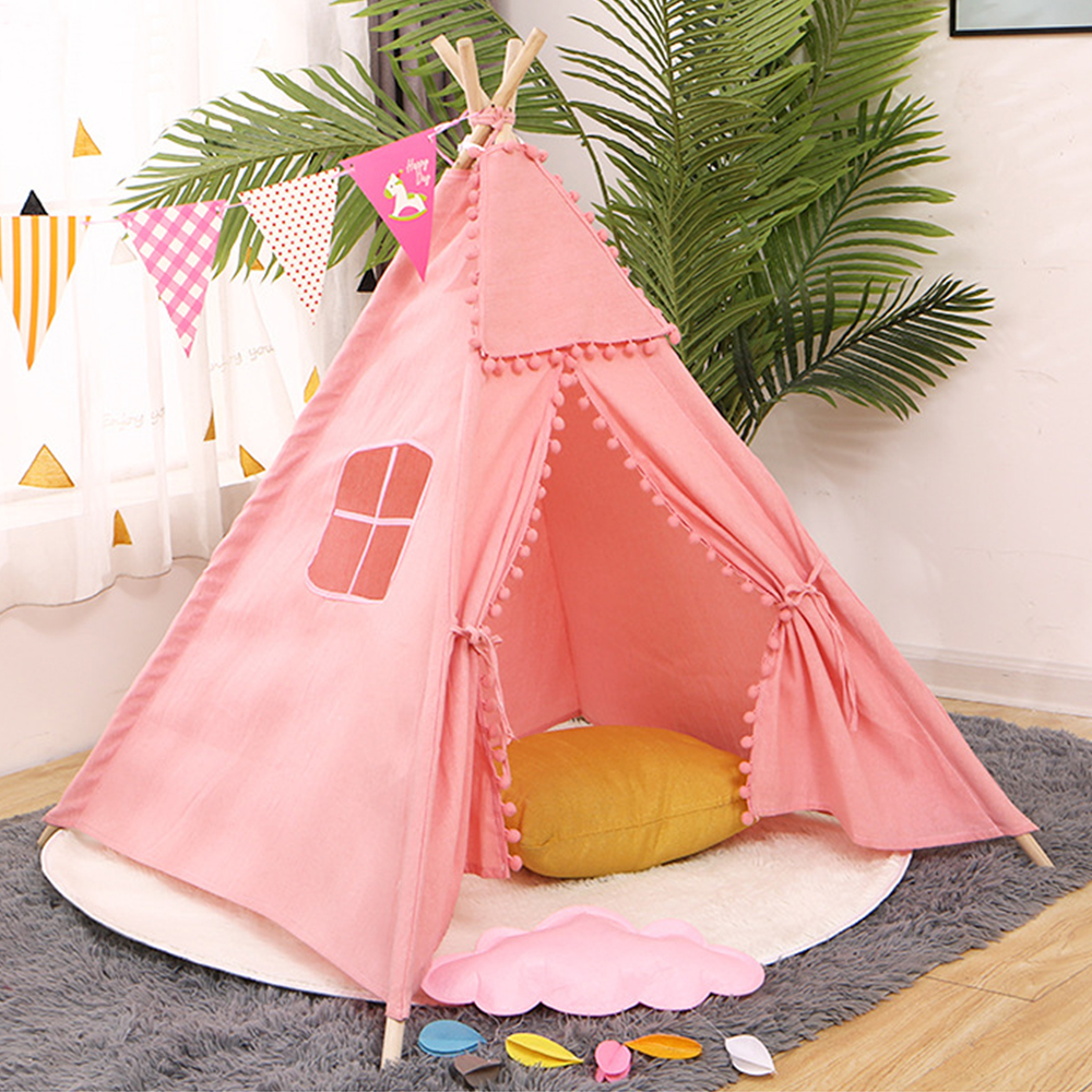 Portable Children's Tent Portable Foldable Outdoor Game Teepee Cartoon Cute Indian Children's Tent Canvas Cotton Triangle Tipi