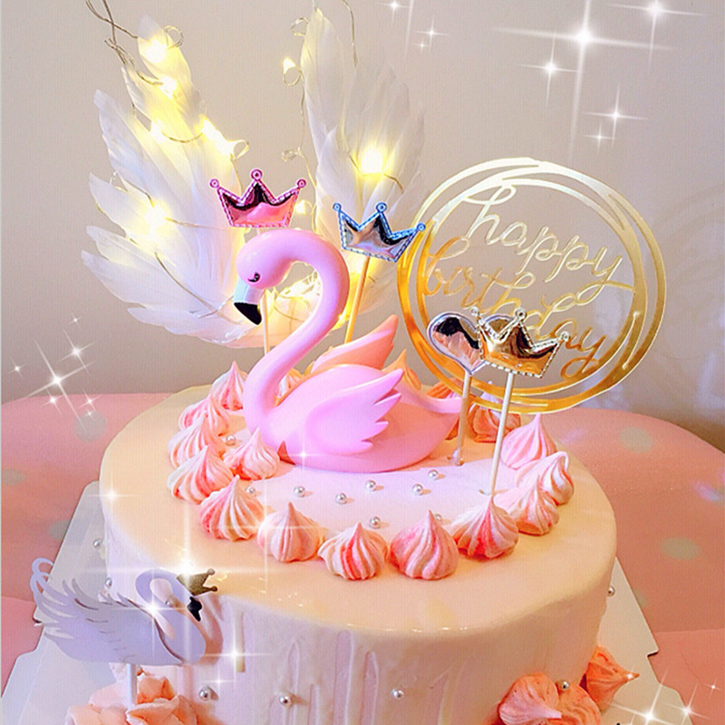 Торты с крыльями ангела в виде фламинго для мальчиков и девочек