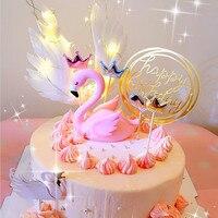 フラミンゴ天使の羽ケーキトッパーユニコーン旗少年少女のためのハッピー誕生日ウエディングケーキトッパー装飾パーティー用品