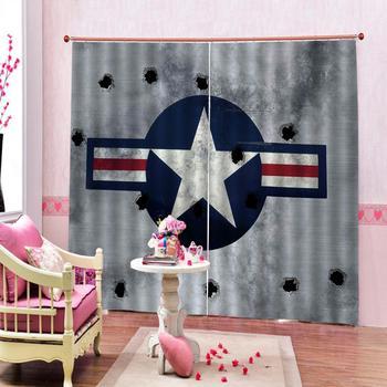 Custom curtains European 3D Curtains White pentagram hole design Curtains For Living Room Bedroom