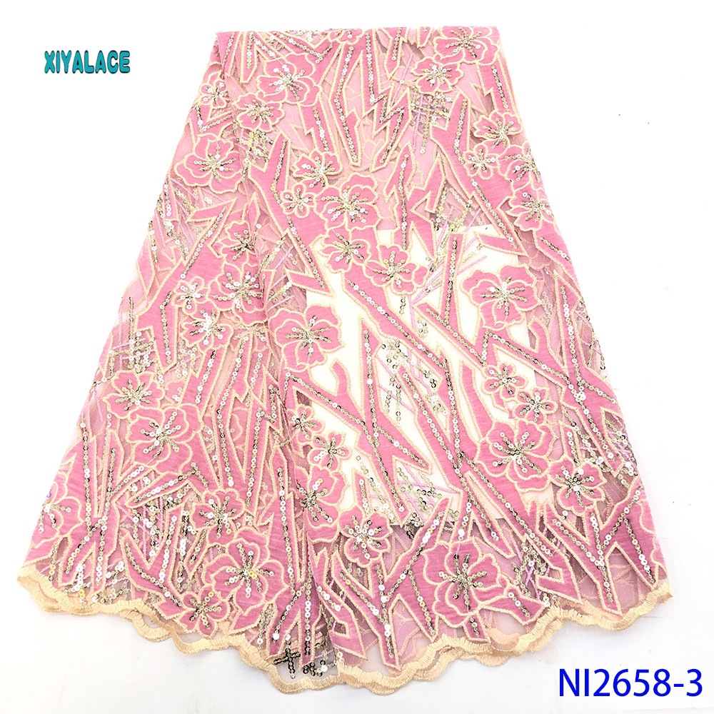 2019 African Sequins High Quality Swiss Voile Laces In Switzerland Dry Cotton Lace Fabric Nigerian Voile Lace 5Yards YANI2658-3