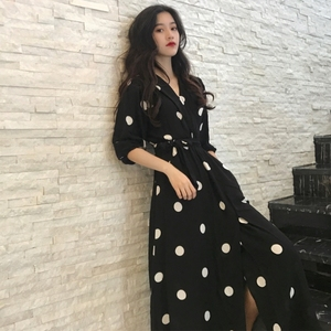 Image 1 - Fashion V neck Ladies Long Dress Casual Half Sleeve Dot Dress Female New Dresses SuperAen Summer Womens Dress Korean Style