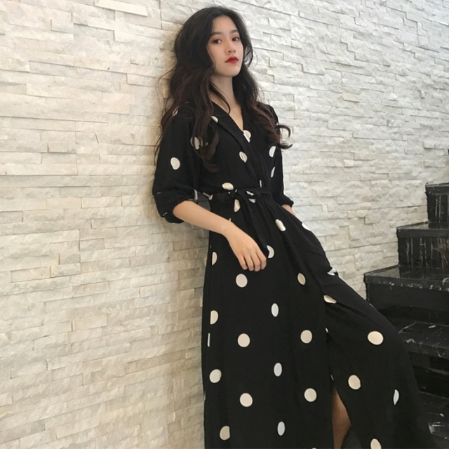 Fashion V neck Ladies Long Dress Casual Half Sleeve Dot Dress Female New Dresses SuperAen Summer Womens Dress Korean Style