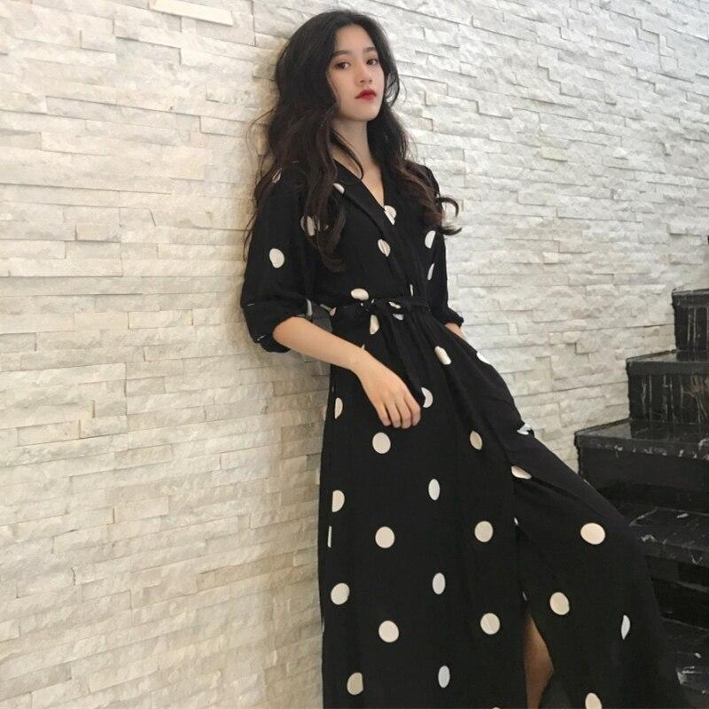 Mode v-cou dames longue robe décontracté demi manches Dot robe femme nouvelles robes SuperAen été femmes robe Style coréen