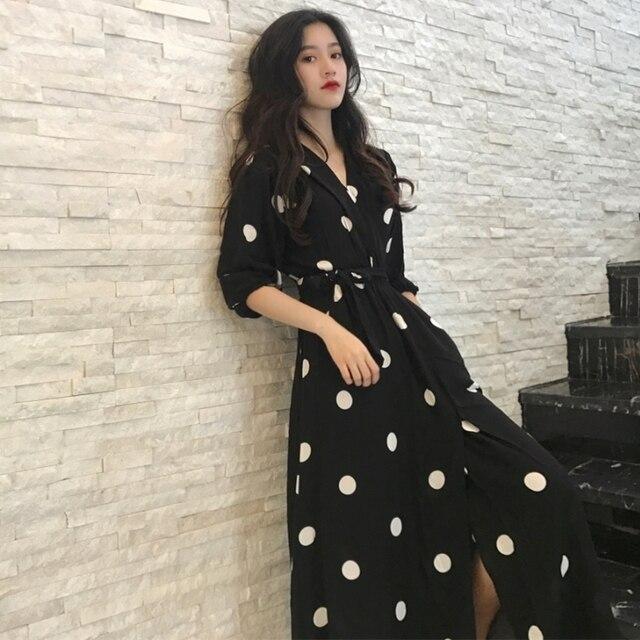 Robe longue à col en v, robe à pois, demi manches, robe féminine, SuperAen, Style coréen, à la mode, nouvelle collection été décontracté